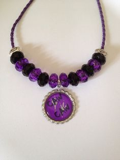 "Baltimore Ravens Football Inspired ""Caw Caw"" Beaded Purple Leather Necklace"
