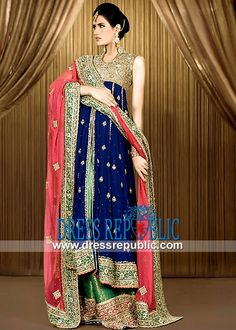Online Designer Dress Boutiques Dark Blue Bridal Sharara By