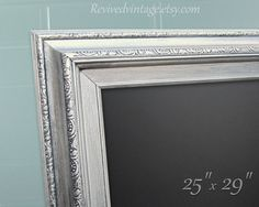 "BRUSHED NICKEL CHALKBOARD Home Chalk board 29""x25"" Silver Framed Chalkboard Magnetic Modern Home Decor Modern Kitchen Framed Blackboard"