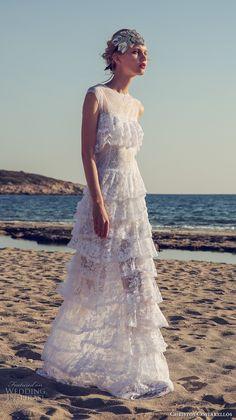 christos costarellos fall 2017 bridal cap sleeves round neck full embellishment tiered skirt vintage elegant bohemian lace column sheath wedding dress (23) mv