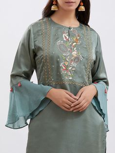 The Loom- An online Shop for Exclusive Handcrafted products comprising of Apparel, Sarees, Jewelry, Footwears & Home decor. Kurti Embroidery Design, Embroidery Neck Designs, Embroidery Tattoo, Silk Kurti Designs, Kurta Designs Women, Fancy Kurti, Designer Bridal Lehenga, Kurta With Pants, Pakistani Fashion Casual