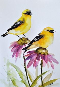 ORIGINAL Watercolor Bird Painting, Goldfinches on Purple Pink Daisies, Daisy Flower, Bird Art 6x8 In
