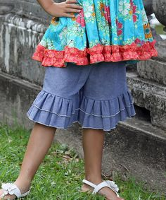 Look at this Chambray Double Ruffle Shorts - Toddler & Girls on #zulily today!