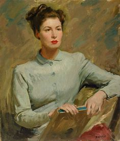 """Irish Girl. William Dargie (Australian, 1912-2003). Oil on canvas. Art Gallery New South Wales. Archie Colquhoun was a disciple of Max Meldrum, and Dargie recalls that Colquhoun, 'gave me a piece of board and said """"all you do, in the first instance, is put that alongside your subject. Just forget what you think you know about the subject and take these patches of colour and make them the same on the canvas as you see them alongside it.""""'"""
