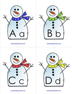 Alphabet Matching - Here's a letter match activity for the winter months! These friendly snowmen get cut in half and then your kids get to put them back together again matching the uppercase letter to the lowercase letter. Literacy Worksheets, Teaching Activities, Preschool Learning, Winter Activities, Number Worksheets, Kindergarten Language Arts, Kindergarten Literacy, Literacy Centers, Letter Matching