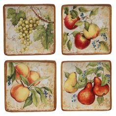 "Capri 6"" 4 Piece Canape Plate Set"