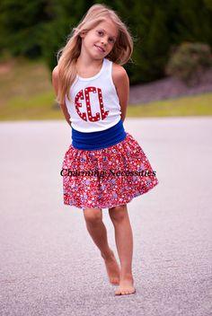 Stars and Stripes Forever Yoga Waist Skirt and (optional) Glitter Monogram Tank Top-