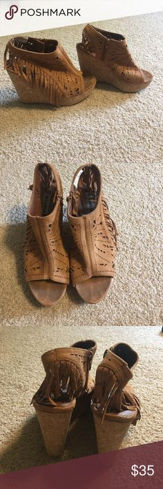 Suede Fringe Wedges Worn a handful of times. Size 6.5. Smoke free home. Shoes Wedges