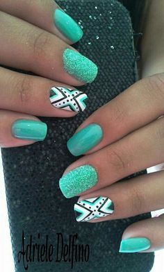 The Aztec mixed with the popping coloring just hypnotize me in their beauty Discover and share your nail design ideas on www.popmiss.com/nail-designs/
