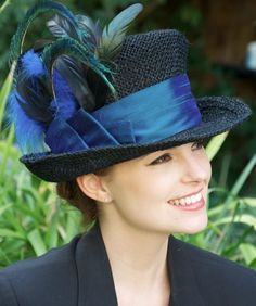 Black Straw Peacock Feathers & Dupioni Silk Derby by AwardDesign,