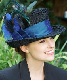 Black Straw Peacock Feathers & Dupioni Silk Derby by AwardDesign,