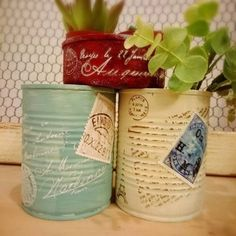 Wash out 3 tin cans; paint them with diluted emulsion; stick used stamps on them; plant dwarf cactus in them. Coffee Can Diy Projects, Projects To Try, Tin Can Crafts, Diy And Crafts, Paper Crafts, Decoupage Tins, Tin Can Alley, Aluminum Cans, Tin Art