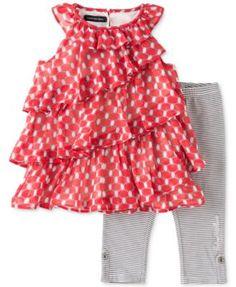 Calvin Klein Little Girls' 2-Piece Tunic & Capris Set