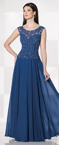 Sleeveless chiffon A-line gown, hand-bead scoop illusion neck and back, sweetheart bodice, sweep train. Matching shawl included.