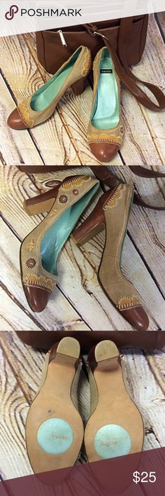 BOHO CHIC PUMPS/SHOES Love these pumps with a boho flare. Leather toe and heel (heel has a couple of worn areas but not very noticeable. See pic) they have cute detail and a linen like fabric upper Bertie Shoes Heels