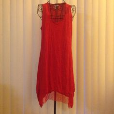 NWOT Adorable Red Beach dress or Beach Coverup NWOT Adorable Red Beach dress or Beach Coverup. Size small. Has give and cute see through details on shoulders and bottom of dress. Allison and Sheri Dresses