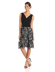 e672463b2d0b S.L. Fashions Women's Knit Top Lace Skirt Party Dress, Black/Ivory, 8 S.L.