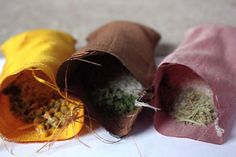 DIY: Aromatherapy Eye Pillows - Silk Fabric, Cut into 8 X 8 inch squares 1 Cup of Flax Seeds per pillow Various herbs: Chamomile, Lavender, Peppermint, & Rosemary, About 3-4 Tbsp Total per pillow