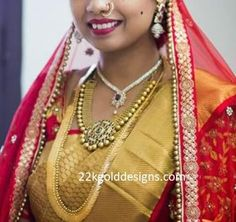 South indian bride in her wedding diamond and gold jewellery which includes diamond necklace,antique gold necklace in medium length,gold kasulaperu/kasumalai,diamond jhumkas and nose ring. South Indian Bridal Jewellery, Wedding Jewelry, Diamond Jhumkas, Diamonds And Gold, South Indian Bride, Gold Jewellery, Antique Gold, Brides, Pendants