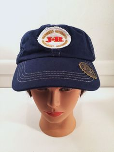 JR Cigar Ball Cap with bottle opener on brim Blue Velcro Adjustable EUC Hat   JRCigars 4862e255ece2