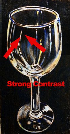 Tips for drawing glass and other transparent subjects. Strong Contrast - Glass