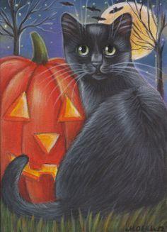 halloween cat painting in acrylics Halloween Friday The 13th, Halloween Cat, Vintage Halloween, Halloween Clipart, Halloween Pictures, Black Cat Art, Black Cats, Autumn Painting, Fall Paintings