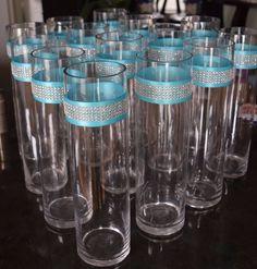 "Wedding Centerpieces Rhinestone Crystal Aqua Ribbon Cylinder Vases 14"" tall"