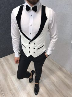 Collection: Spring – Summer 2019 Product: Slim-Fit Tuxedo Color Code: White Size: Suit Material: Viscose, Poly Machine Washable: No Fitting: Slim-fit Package Include: Coat, Vest, Pants and Bow Tie Slim Fit Tuxedo, Tuxedo Suit, Tuxedo For Men, Wedding Dress Men, Wedding Suits, Mens Fashion Suits, Mens Suits, Suit Men, Tuxedo Colors
