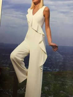Type:Cold ShoulderSilhouette:A-lineWaistlines:EmpireElasticity:Non-stretchyMaterial:PolyesterNeckline:V Chart Size Length Waist Bust cm inch cm inch cm inch S 156 72 92 M 157 6 Bridal Jumpsuit, Ruffle Jumpsuit, Playsuit, Mixed Models, Diy Mode, Custom Dresses, Types Of Sleeves, The Dress, Pants For Women
