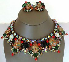 MASSIVE JULIANA D GIANT EASTER EGG BIB NECKLACE & EARRINGS DEMI BOOKPIECE
