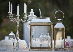 De Plan V » White & Gold Opulence Wedding @ Island, Athenian Riviera, welcome dessert table detail, classic silver plate candle holders, lanterns, crystal vases, luxury