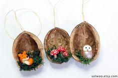 Forest Animal Christmas Ornaments Fox owl and mushroom