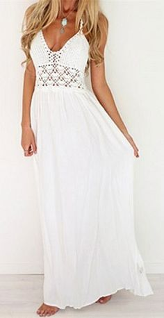 white plain condole belt hollow out v neck maxi dress