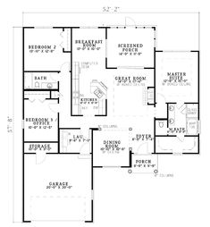 Traditional House Plan 62111 Level One