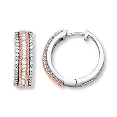 Hoop Earrings 1/4 ct tw Diamonds  Sterling Silver/10K Gold