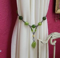 Hand Made Curtain Tiebacks Green Hookless by crookedfencegifts, $24.95