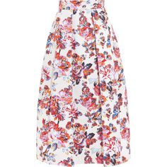 Mary Katrantzou Midlar printed silk and cotton-blend jacquard skirt ($1,715) ❤ liked on Polyvore featuring skirts, gown, multicolor skirt, rose skirt, purple skirt, silk pleated skirt and multi color skirt