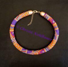 """Bead Crochet Kette """"SUNDARI"""" Rope Jewelry, Beaded Jewelry, Jewellery, Crochet Necklace, Beaded Necklace, Beaded Bracelets, Bead Crochet Rope, Beaded Crochet, Peyote Beading"""