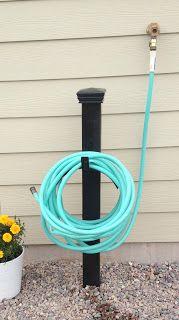 "Garden Hose Holder - 4"" x 4"" post, deck post cap, paint & hose holder"