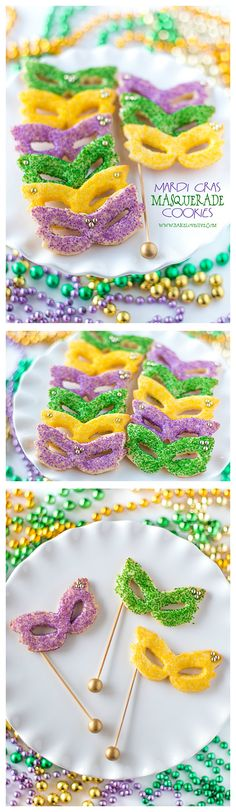 Celebrate Carnival with Mardi Gras Masquerade Sugar CookiesYou can find Masquerades and more on our website.Celebrate Carnival with Mardi Gras Masquerade Sugar Cookies Mardi Gras Food, Mardi Gras Party, Sugar Cookies Recipe, Cookie Recipes, Dessert Recipes, Delicious Desserts, Mardi Gras Decorations, Quince Decorations, Festa Party