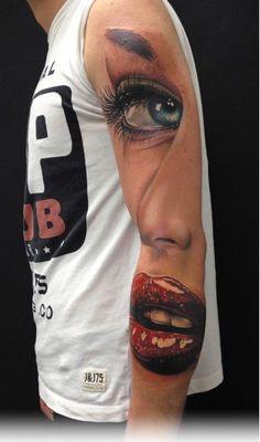 Absolutely insane work. #InkedMagazine #face #lips #eye #nose #tattoo #tattoos #Inked #ink #art