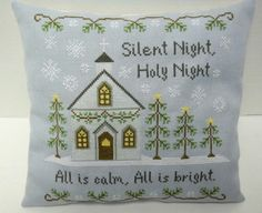 Silent Night Cross Stitched Christmas Accent by luvinstitchin4u, $48.00