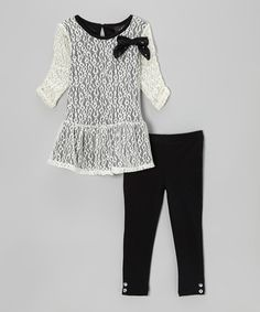 Take a look at this White Leopard Lace Peplum Tunic & Black Leggings - Girls on zulily today!
