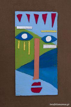 Πρόσωπα από χαρτόκουτα. - To Cafe tis mamas Symbols, Diy Crafts, Outdoor Decor, Projects, Handmade, Home Decor, Art, Log Projects, Art Background
