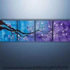 Original Modern Asian Tree Blossom Textured Painting Art Large ...