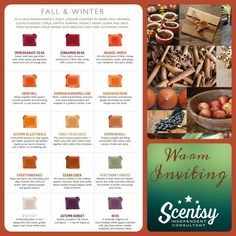Fall and Winter scents available on September 1, 2015 in the Fall/Winter Catalog! https://katesjourney.scentsy.us or 303-517-4458