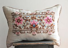 Vintage embroidered pillow vintage embroidery floral pillow