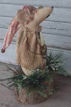 Primitive Christmas Homeless Mouse - Country Mouse - Handmade Mouse - Mouse On…