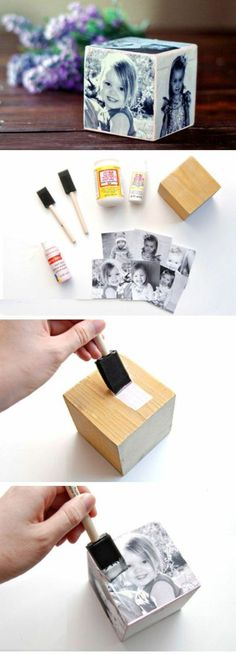Gadgets 95717 idea so make a gift for Mother's Day, a wooden cube, cut out printed child photos, make an original photo frame Photo Craft, Diy Photo, Homemade Gifts, Diy Gifts, Cadre Photo Original, Diy For Kids, Crafts For Kids, Cadeau Parents, Photo Cubes
