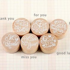 New 2017 Handwriting Blessing Words Round Wooden Rubber Stamps Floral Choosing Words  DIY Accessories  Scrapbooking Stamps
